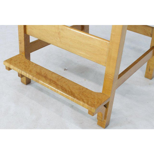 Modern Solid Brid's-Eye Maple High Pool Chairs Bar Stools- A Pair For Sale - Image 9 of 13