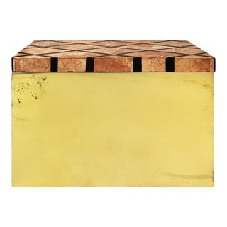 1970s Brass Box with Patterned Marble Lid For Sale