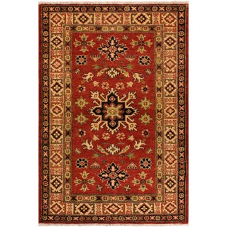 Empire Kazak Randolph Red/Ivory Hand-Knotted Wool Rug (3'0 X 4'10) For Sale