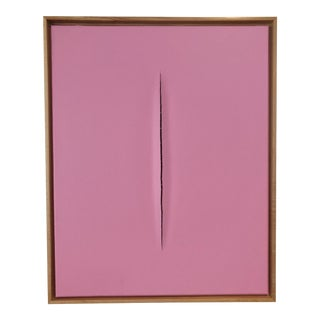 Unique Pink Slice Modern Art Painting by Tony Curry For Sale