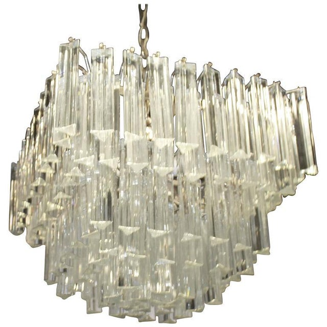 Mid 20th Century Vintage Italian Camer Glass Brass Five-Tier Murano Chandelier For Sale - Image 5 of 5