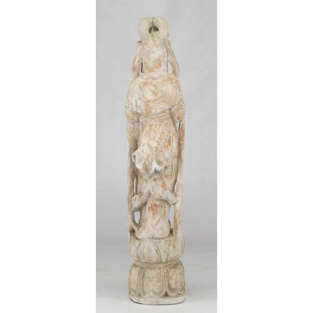 """Austin Productions 36"""" Patinated Plaster & Gesso Standing Buddha Statue. For Sale - Image 4 of 8"""