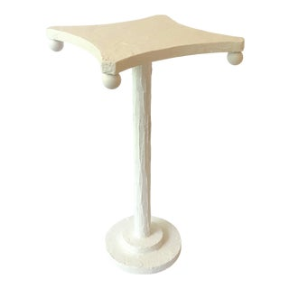 Modern Artisan Small Accent Table with White Opera For Sale