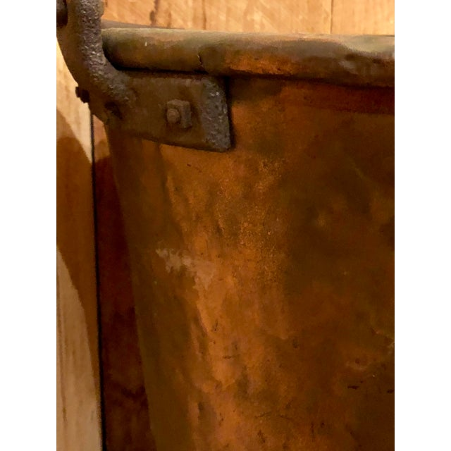 Rustic Antique Copper Apple Butter Iron Handle Kettle For Sale - Image 3 of 6