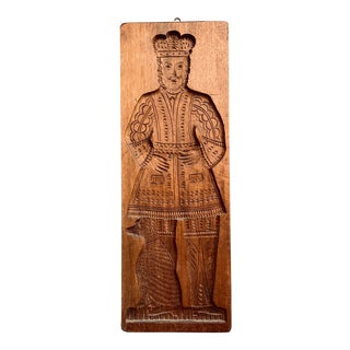 Large 2 Feet Plus Hand Carved Gingerbread King Mold For Sale