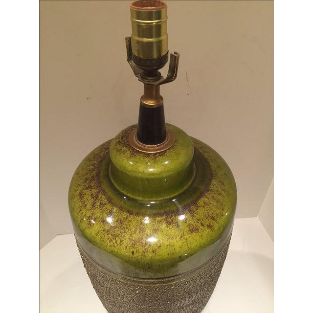 Vintage Green Glazed Lamp - Image 4 of 6