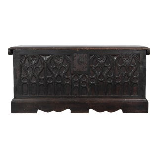 19th Century Carved Wooden Trunk For Sale