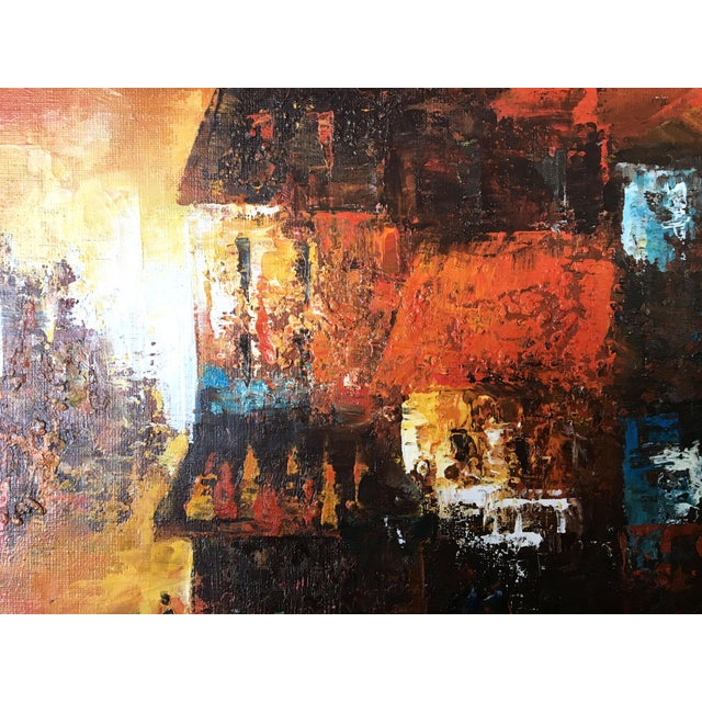 1970s Mid Century Modern Oil on Canvas Cityscape by Edward Barton For Sale - Image 5 of 9