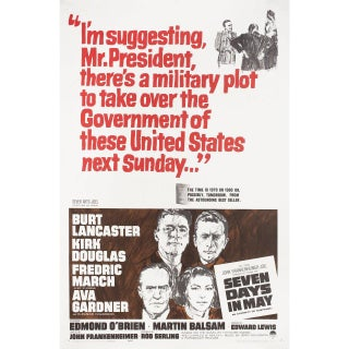 Seven Days in May 1964 U.S. One Sheet Film Poster For Sale