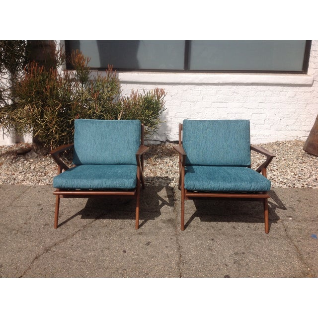 Mid Century Modern Style Z Lounge Chairs - Pair - Image 4 of 5
