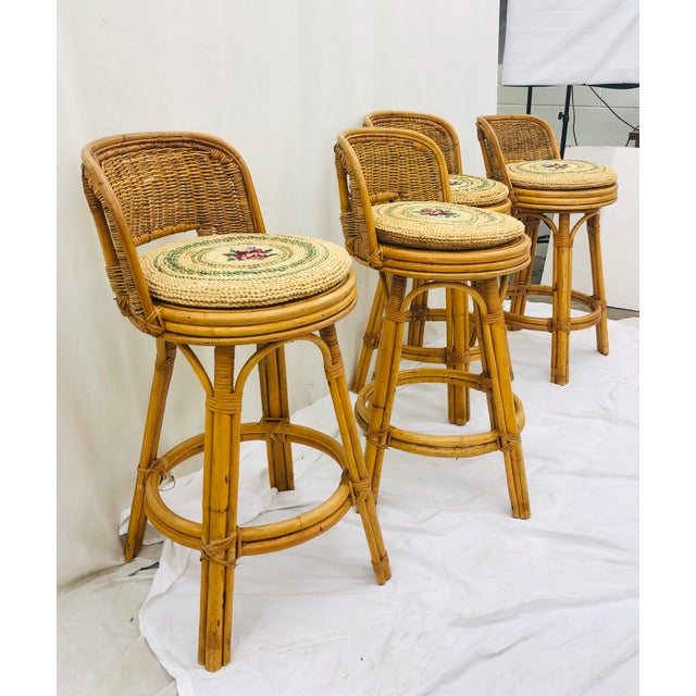 Ficks Reed Set Vintage Bamboo & Wicker Stools For Sale - Image 4 of 11