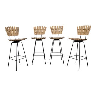 Set of 4 Mid-Century Arthur Umanoff Slat Style Bar Stools For Sale