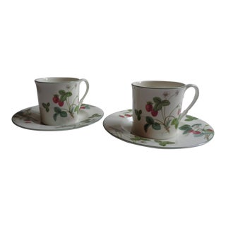 "Vintage Mikasa ""Strawberry Hill"" China Cup and Saucer Set - a Pair For Sale"