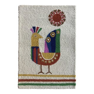 Limited Edition Mid Century Inspired Wool Bird Hook Pile Rug Wall Hanging For Sale