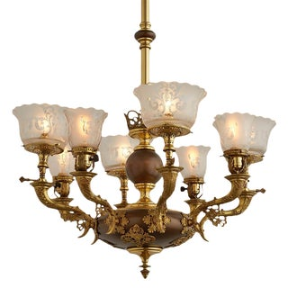 Large & Elaborate 8-light Gas/electric Chandelier W/ Scalloped Shades Circa 1890s