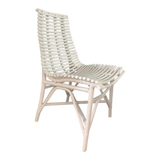 Set of 6 Jeffan White Rattan Indoor Dining Chair For Sale