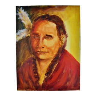 Oil on Canvas Painting Portrait of Native American Indian Actor Russell Means For Sale