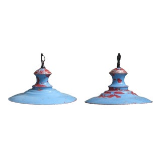 Large English Pendant Lights, Pair For Sale