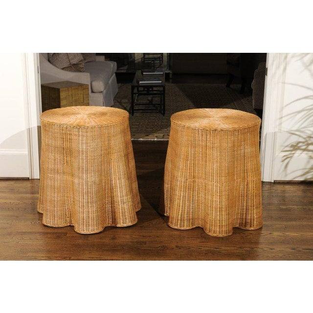 Stellar Pair of Vintage Trompe l'Oiel Drape Wicker Tables For Sale - Image 9 of 12
