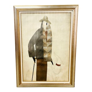 Large Scale Signed and Numbered Art Deco Serigraph by Augustine 1 of 2 Female Figure For Sale