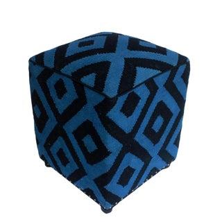 Arshs Delphine Lt. Blue/Black Kilim Upholstered Handmade Ottoman For Sale