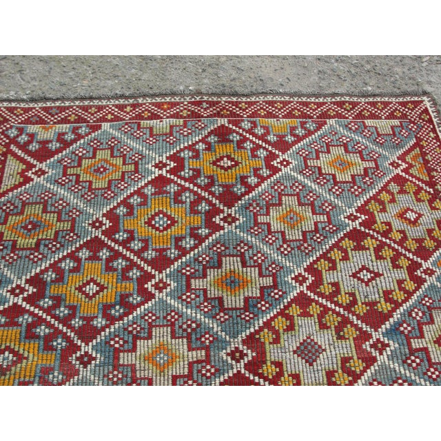 Textile Vintage Turkish Kilim Rug - 5′8″ × 10′4″ For Sale - Image 7 of 11