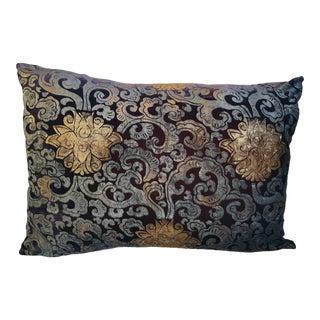Peking Flowers Silk Velvet Pillow Cover For Sale