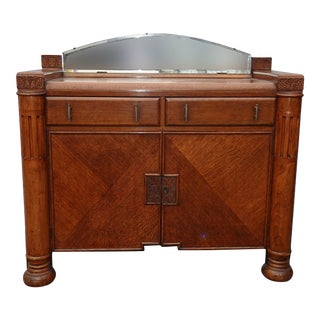 Vintage Art Deco Sideboard Credenza W Side Cabinet & Mirror French Country For Sale