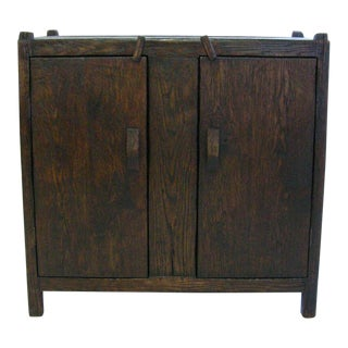 Custom Rustic Spanish Style Oak Wood Cabinet For Sale