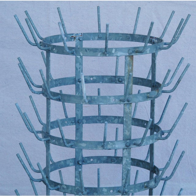 Early 1900s French Zinc Bottle Drying Rack - Image 8 of 9