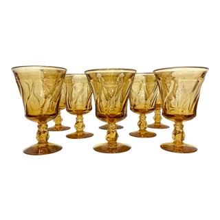 Fostoria Light Amber Water Goblets - Set of 8 For Sale