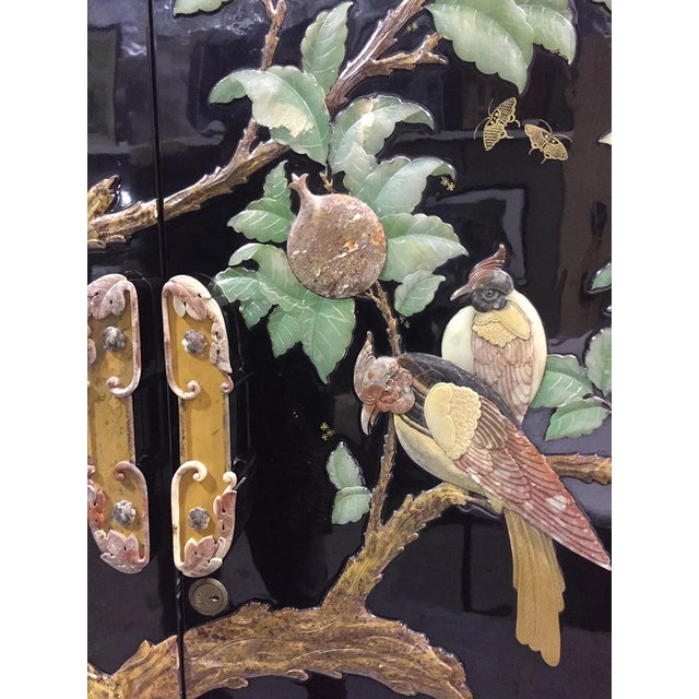 Art Deco Vintage Chinoiserie Black Lacquer Mother of Pearl Inlay Wardrobe Armoire - Pair Available For Sale - Image 3 of 11
