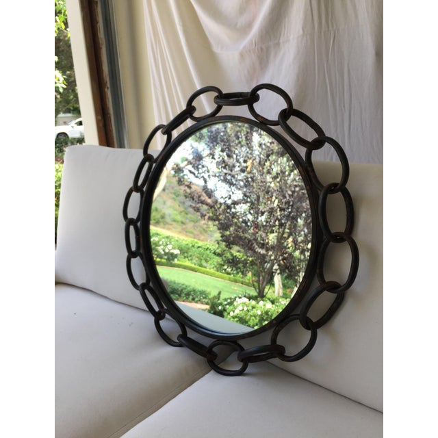 Metal Chain Link Circle Mirror - Image 2 of 4