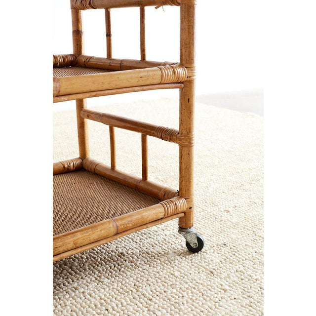 Bamboo and Raffia Rolling Three-Tier Serving Cart For Sale - Image 9 of 13