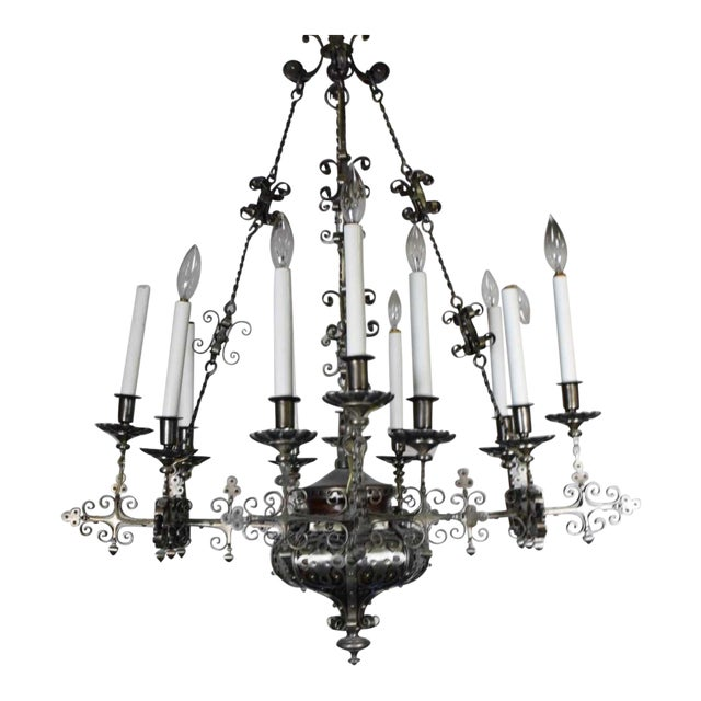 A Very Fine Continental Renaissance Style Steel Chandelier For Sale