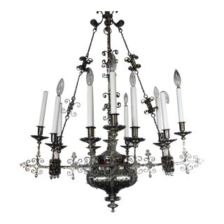 Vintage Renaissance Revival Wrought Iron Chandelier With Pierced Body and Straight Branches For Sale