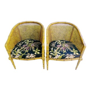 Faux Bamboo and Cane Upholstered Tropical Palm Tree Fabric Side Chairs -A Pair For Sale