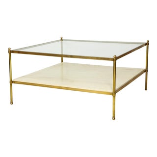 Parchment and Bronze Coffee Table With Glass Top For Sale