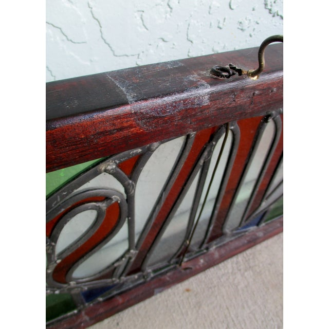 Large Antique French Leaded Stained Glass Bar Sign Vins For Sale In Miami - Image 6 of 10