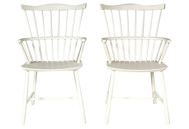 Børge Mogensen White Windsor Chairs - a Pair  sc 1 th 225 : white windsor chairs - Cheerinfomania.Com