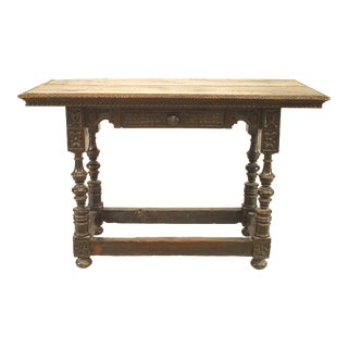 English Renaissance Walnut Console Table For Sale