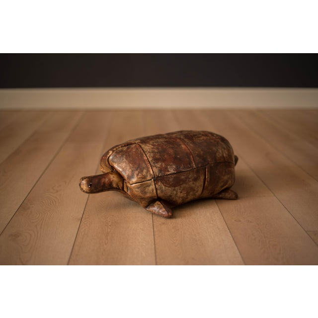 Brown Vintage Abercrombie and Fitch Leather Turtle Footstool by Dimitri Omersa For Sale - Image 8 of 8