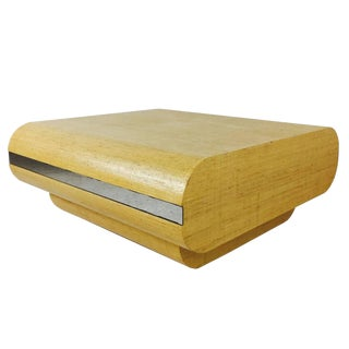Curved Grass Cloth Coffee Table by Pace For Sale