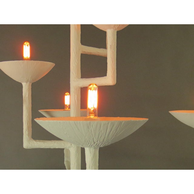 7 Cup Plaster Chandelier For Sale - Image 11 of 12