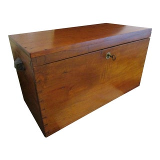1800s Antique New England Cherry Wood Dovetailed Storage Chest or Box