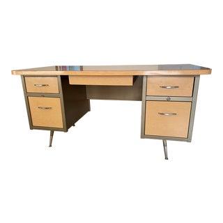 Vintage Atomic Retro Metal Teacher's Desk For Sale
