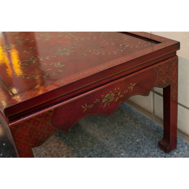 2000 - 2009 Chinoiserie Burgundy Red Coffee/Cocktail Table With Gilt Floral Design For Sale - Image 5 of 6