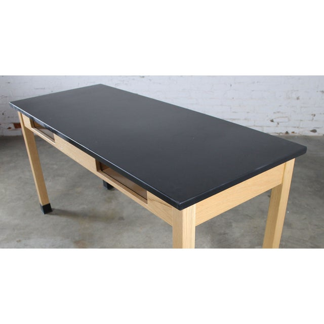 Industrial Laboratory Table, Oak With Black Epoxy For Sale - Image 5 of 12