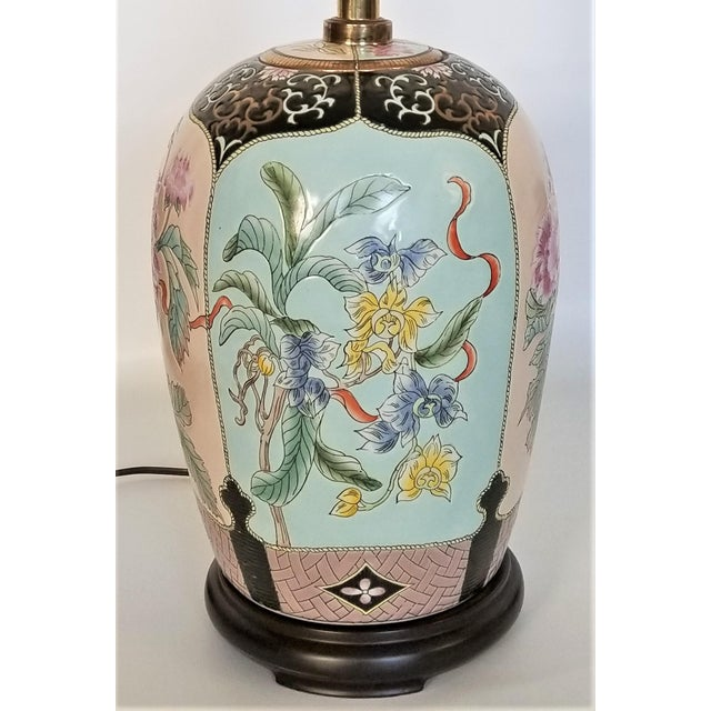 Hollywood Regency Large Famille Rose Noire Porcelain Chinese Table Lamp Flowers and Leaves For Sale - Image 3 of 13