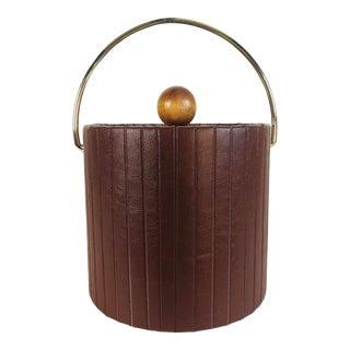 1960s Brown Pleated Vinyl Ice Bucket For Sale